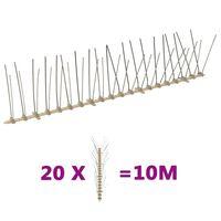 vidaXL 4-редови пластмасови шипове срещу птици и гълъби, 20 бр, 10 м