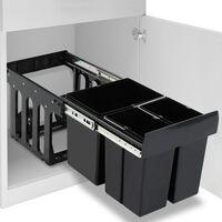 vidaXL Кош за вграждане за кухненски шкаф, плавно затваряне, 48 л