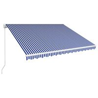 vidaXL Ръчно прибиращ се сенник, 400x300 см, синьо и бяло