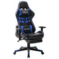 vidaXL Геймърски стол с подложка крака черно и синьо изкуствена кожа