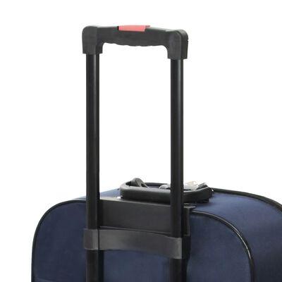 vidaXL Меки куфари на колелца, 3 бр, тъмносини, плат Оксфорд