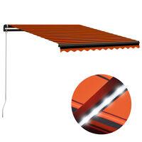 vidaXL Ръчно прибиращ се сенник с LED, 350x250 см, оранжево и кафяво