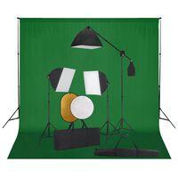 vidaXL Фотографски комплект за студио със софтбокс, фон и рефлектор