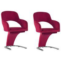 vidaXL Трапезни столове, 2 бр, виненочервени, кадифе