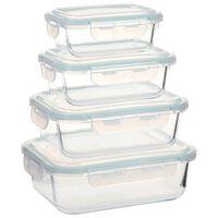 vidaXL Стъклени кутии за съхранение на храна, 4 бр