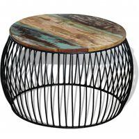 vidaXL Кафе маса, кръгла, регенерирано дърво масив, 68x43 cм