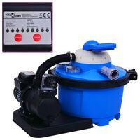vidaXL Пясъчна филтърна помпа с таймер, 450 W, 25 л