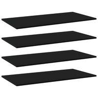 vidaXL Рафтове за етажерка, 4 бр, черни, 100x50x1,5 см, ПДЧ