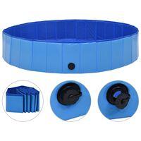 vidaXL Сгъваем басейн за кучета, син, 160x30 см, PVC