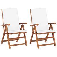 vidaXL Накланящи градински столове, 2 бр, тиково дърво, кремави