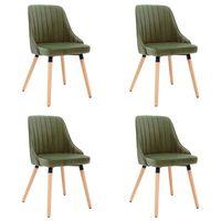 vidaXL Трапезни столове, 4 бр, светлозелени, кадифе