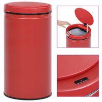 vidaXL Кош за смет с автоматичен сензор 60 л въглеродна стомана червен