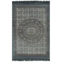 vidaXL Килим тип черга, памук, 160x230 см, с шарки, сив