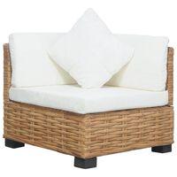 vidaXL Ъглов диван с възглавници, естествен ратан
