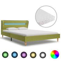 vidaXL Легло с LED и матрак, зелено, плат, 140x200 см