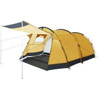 vidaXL Тунелна палатка за къмпинг, 4-местна, жълта