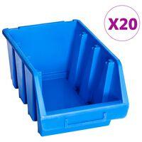 vidaXL Стифиращи контейнери за съхранение, 20 бр, сини, пластмаса