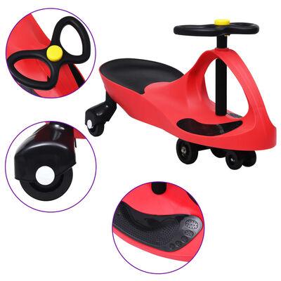 vidaXL Въртяща се кола с клаксон тип играчка за яздене, червена