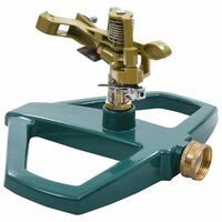 vidaXL Въртяща се пръскачка, зелена, 21x22x13 см, метал