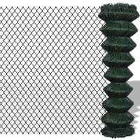 vidaXL Плетена оградна мрежа, стомана, 1,25x25 м, зелена
