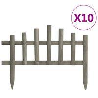 vidaXL Ниски огради за лехи, 10 бр, чам, 4,4 м