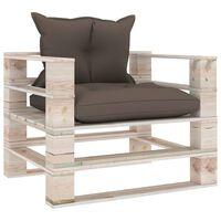 vidaXL Градински палетен диван с възглавници таупе, борово дърво