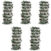 vidaXL Върбови огради хармоника, 5 бр, с изкуствени листа, 180x60 см
