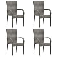 vidaXL Стифиращи външни столове, 4 бр, сиви, полиратан