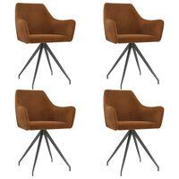 vidaXL Трапезни столове, 4 бр, кафяви, кадифе