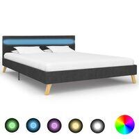 vidaXL Рамка за легло с LED, тъмносива, плат, 120x200 см