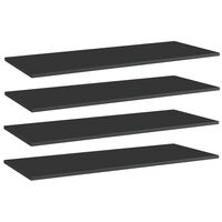 vidaXL Рафтове за етажерка, 4 бр, черен гланц, 100x40x1,5 см, ПДЧ