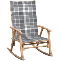 vidaXL Люлеещ се стол с възглавница, бамбук