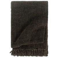 vidaXL Декоративно одеяло, памук, 125x150 см, антрацит/кафяво