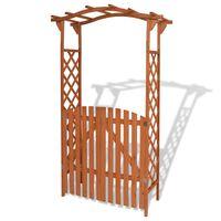 vidaXL Градинска арка с порта, масивна дървесина, 120x60x205 cм