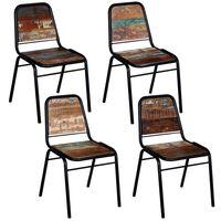 vidaXL Трапезни столове, 4 бр, регенерирано дърво масив