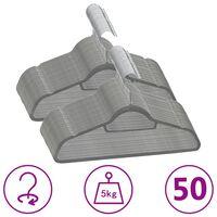 vidaXL 50 бр Комплект закачалки за дрехи антиплъзгащи сиво кадифе