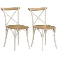 vidaXL Кръстати столове, 2 бр, бели, мангово дърво масив