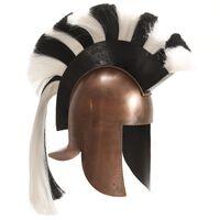 vidaXL Гръцки военен шлем, антична реплика, ЛАРП, цвят мед, стомана