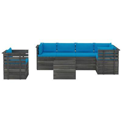 vidaXL Градински лаундж комплект палети възглавници 7 части бор масив