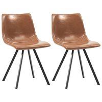 vidaXL Трапезни столове, 2 бр, коняк, изкуствена кожа
