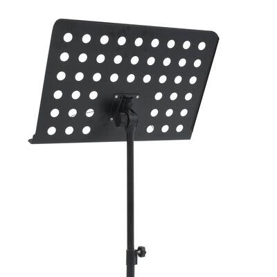 vidaXL Стойка за ноти, черна, стомана
