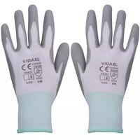 vidaXL Работни ръкавици, PU, 24 чифта, бяло и сиво, размер 8/M