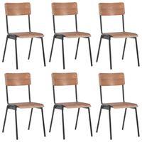 vidaXL Трапезни столове, 6 бр, кафяви, шперплат