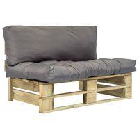 vidaXL Градински диван от палети със сиви възглавници, борово дърво