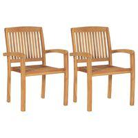 vidaXL Стифиращи градински трапезни столове, 2 бр, тиково дърво масив