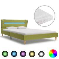 vidaXL Легло с LED и матрак, зелено, плат, 120x200 см
