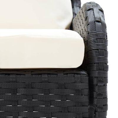 vidaXL 2 бр градински ъглови дивани, полиратан, черни
