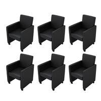 vidaXL Трапезни столове, 6 бр, черни, изкуствена кожа