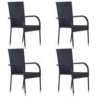 vidaXL Стифиращи външни столове, 4 бр, полиратан, черни