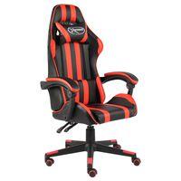 vidaXL Геймърски стол, черно и червено, изкуствена кожа